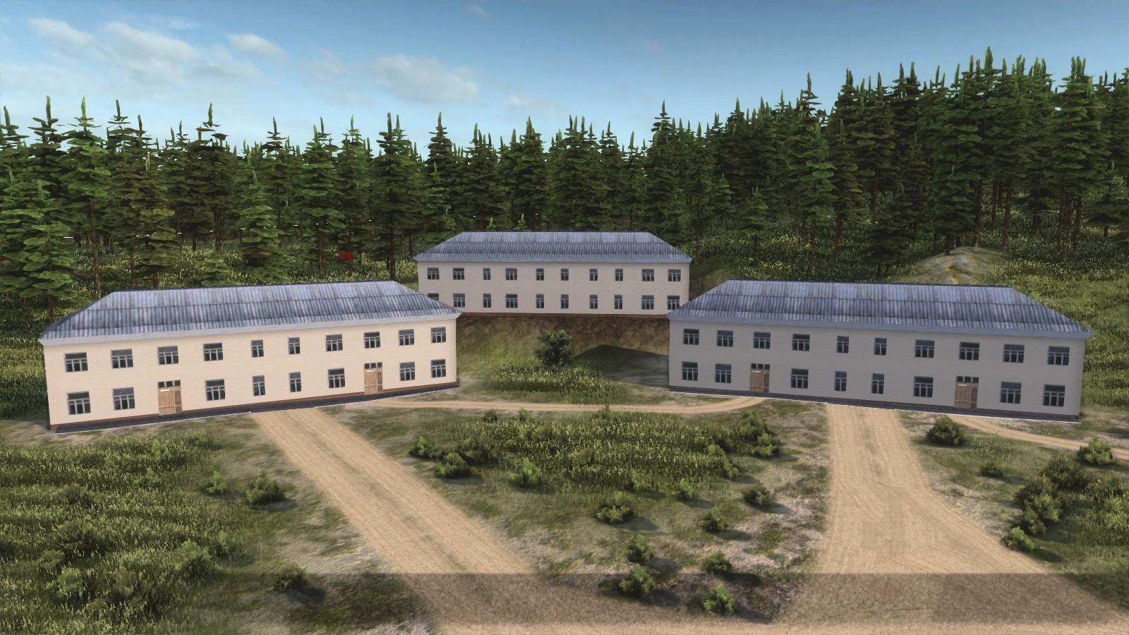 Кирпичный двухэтажный двухподъездный дом